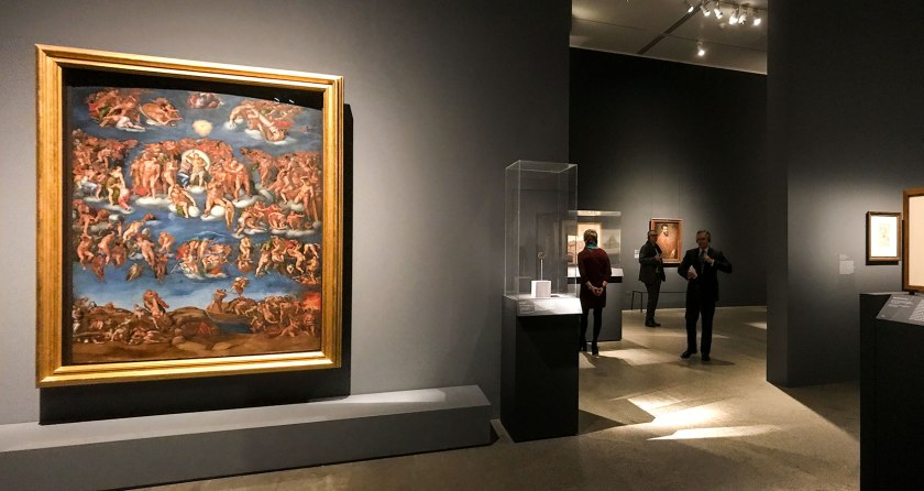Second to last room in the displayed in the exhibit Michelangelo Divine Draftsman and Designer exhibit at the Metropolitan Museum of Art in New York
