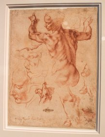 Michelangelo, Studies for the Libyan Sibyl in the Sistine Ceiling displayed in the exhibit Michelangelo Divine Draftsman and Designer exhibit at the Metropolitan Museum of Art in New York