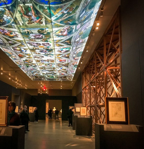 The Sistine Chapel ceiling: an illuminated copy at 1:4 scale of the original displayed in the exhibit Michelangelo Divine Draftsman and Designer exhibit at the Metropolitan Museum of Art in New York
