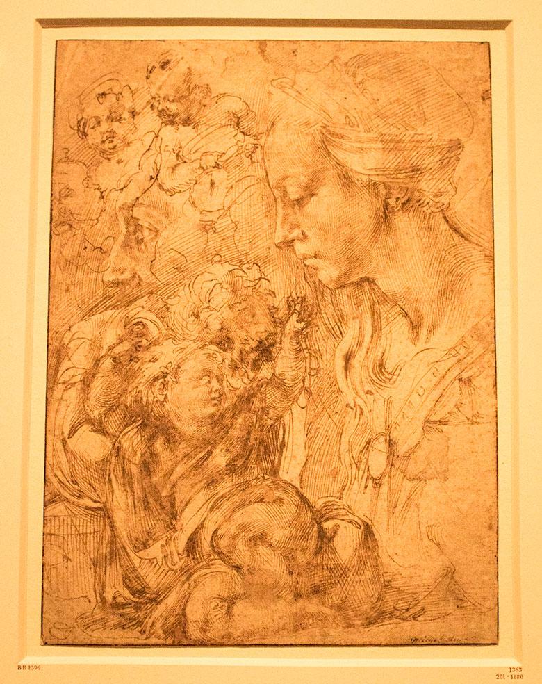 Michelangelo, Sketches of the Virgin displayed in the exhibit Michelangelo Divine Draftsman and Designer exhibit at the Metropolitan Museum of Art in New York