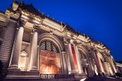 Metropolitan Museum facade at night during the Michelangelo exhibit