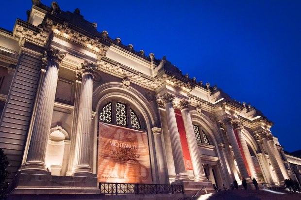 Metropolitan Museum facade at night during the Michelangelo exhibit